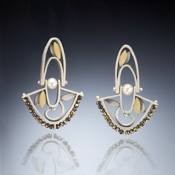 Mixed Metal Hinged Fan Earrings - Kinzig Design Studios