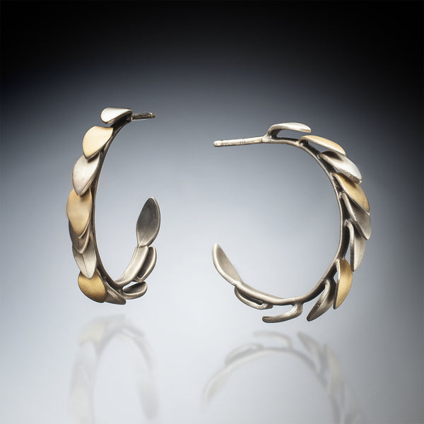 Mixed Metal Leaf Hoops - Kinzig Design Studios