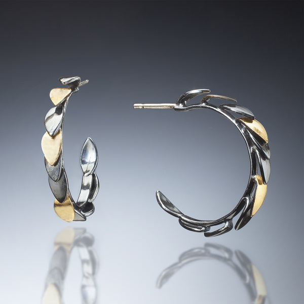 Mixed Metal Leaf Hoops (black) - Kinzig Design Studios