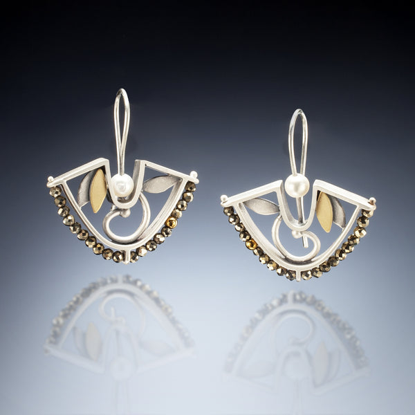 Mixed Metal Fan Earrings - Kinzig Design Studios
