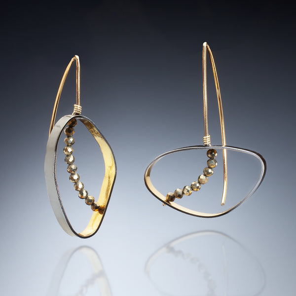 Gold Inside Oval Earrings - Kinzig Design Studios