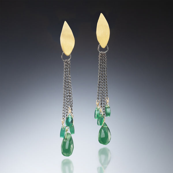 Gold Earrings with Green Drops - Kinzig Design Studios