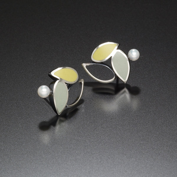 Three Leaf Earrings (blue) - Kinzig Design Studios