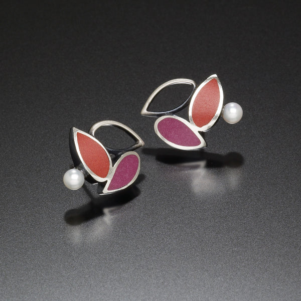 Three Leaf Earrings (red) - Kinzig Design Studios