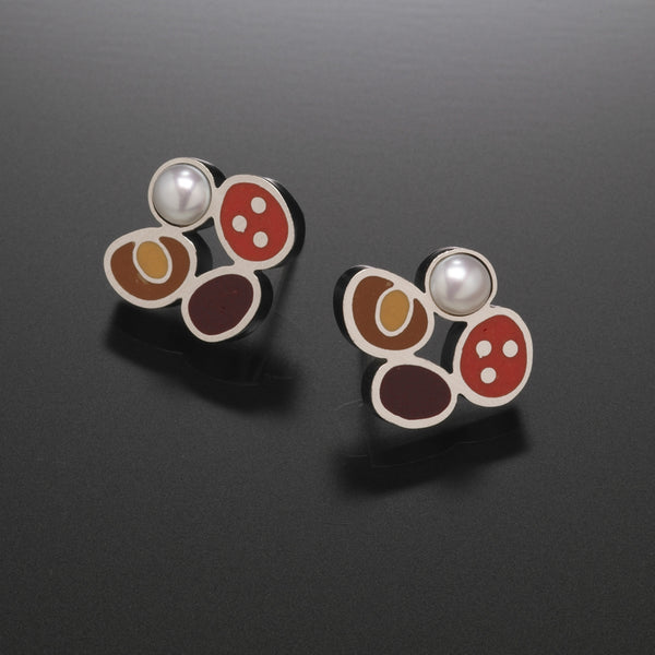 Four Clover Earrings (red) - Kinzig Design Studios