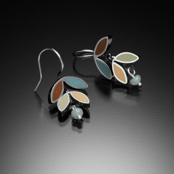 Four Leaf Earrings (blue) - Kinzig Design Studios
