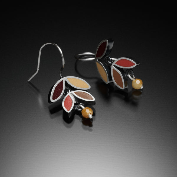 Four Leaf Earrings (red) - Kinzig Design Studios