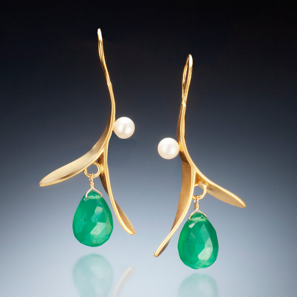 Branch Earring with Drop (gold) - Kinzig Design Studios