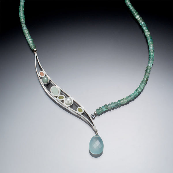 Asymmetric Necklace (blue) - Kinzig Design Studios