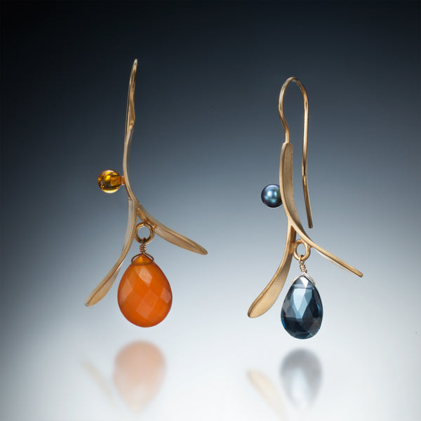 Branch Earrings with Drop (gold) - Kinzig Design Studios