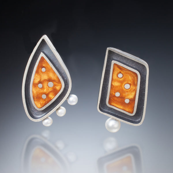 Framed Geometric Earrings - Kinzig Design Studios