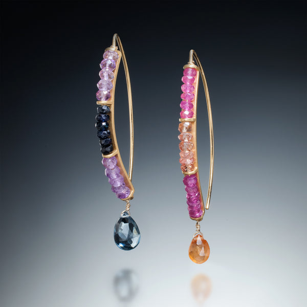Gemstone Curve Earrings with Drop (gold) - Kinzig Design Studios