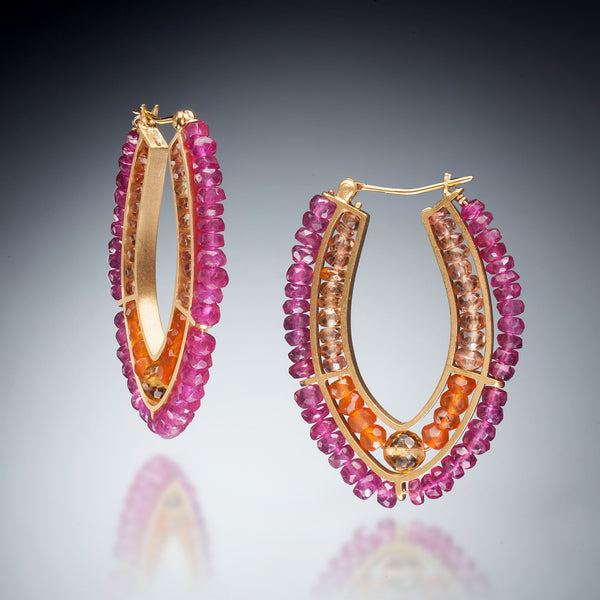 Gemstone double Hoop Earrings (gold red) - Kinzig Design Studios