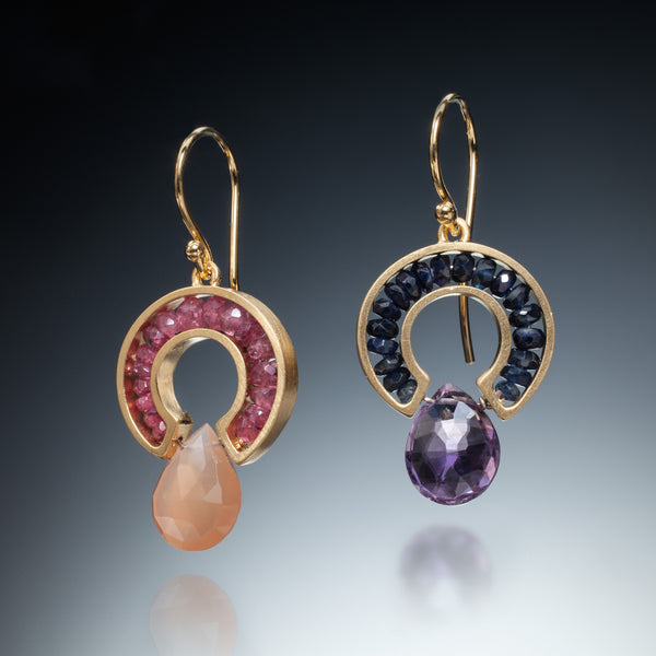 Gemstone Horseshoe Earrings (gold) - Kinzig Design Studios