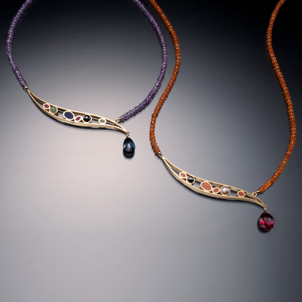 Gemstone Asymmetric Necklace (gold) - Kinzig Design Studios