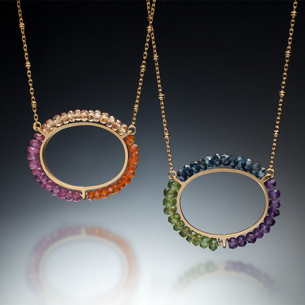 Gemstone Circle Necklace (gold) - Kinzig Design Studios