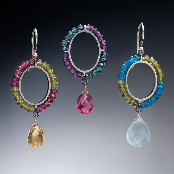 Gemstone Circle Earrings with Drop - Kinzig Design Studios