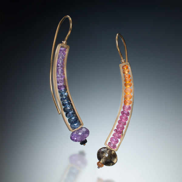 Gemstone Curve Earrings (gold) - Kinzig Design Studios