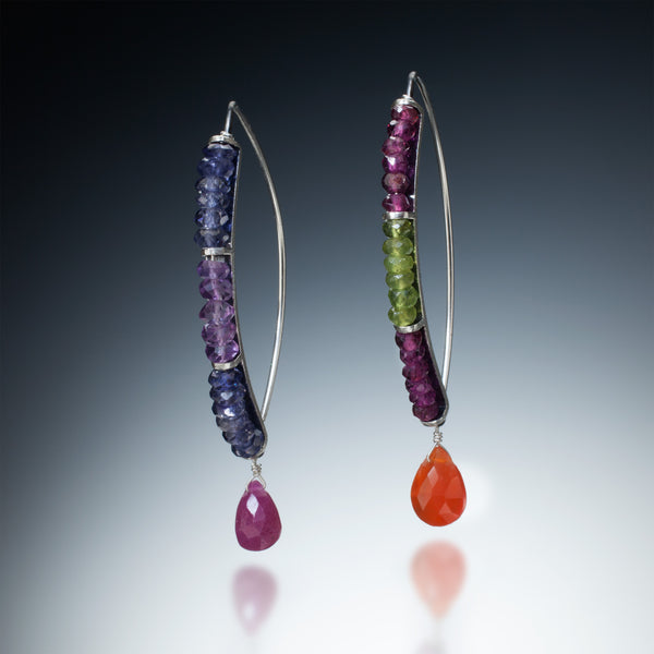 Gemstone Curve Earrings with Drop - Kinzig Design Studios
