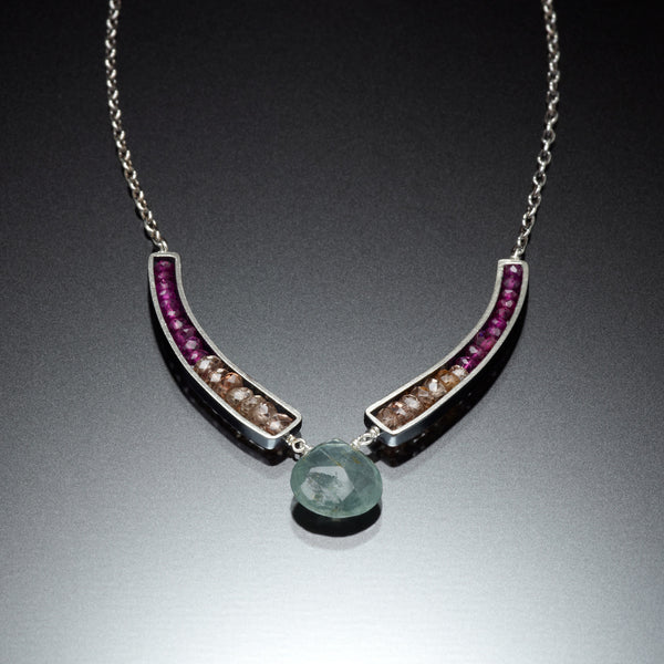 Gemstone Curve Necklace - Kinzig Design Studios