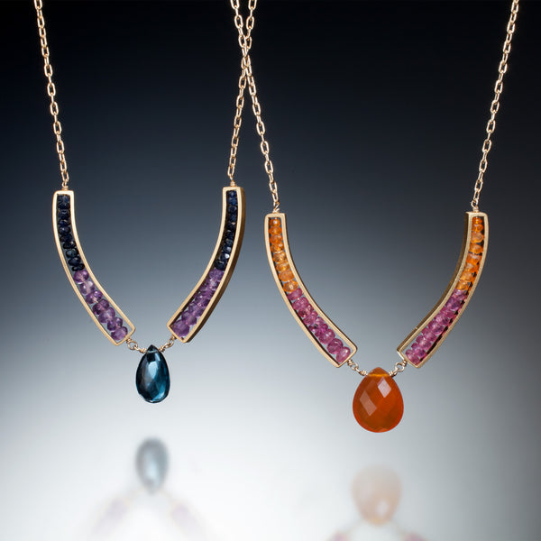 Gemstone Curve Necklace (gold) - Kinzig Design Studios