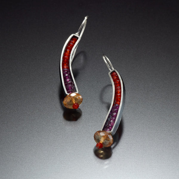 Gemstone Curve Earrings (red) - Kinzig Design Studios