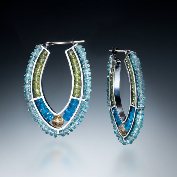 Gemstone Double Hoop (blue) - Kinzig Design Studios