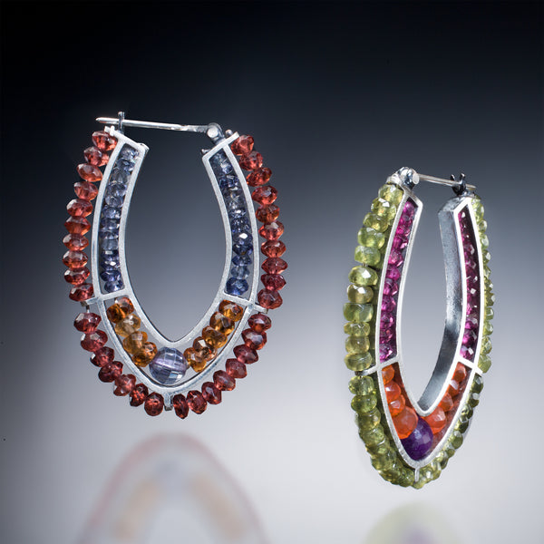 Gemstone Double Hoop Earrings (red & green) - Kinzig Design Studios