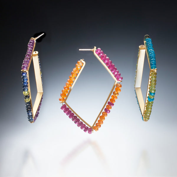 Gemstone Hoops (gold) - Kinzig Design Studios