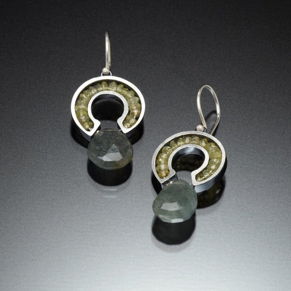 Gemstone Horseshoe Earrings (green) - Kinzig Design Studios
