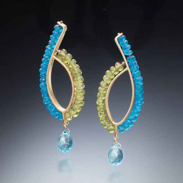 Gemstone Loop Earrings (gold) - Kinzig Design Studios