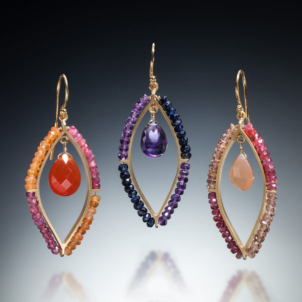 Gemstone Marquis Earrings (gold) - Kinzig Design Studios
