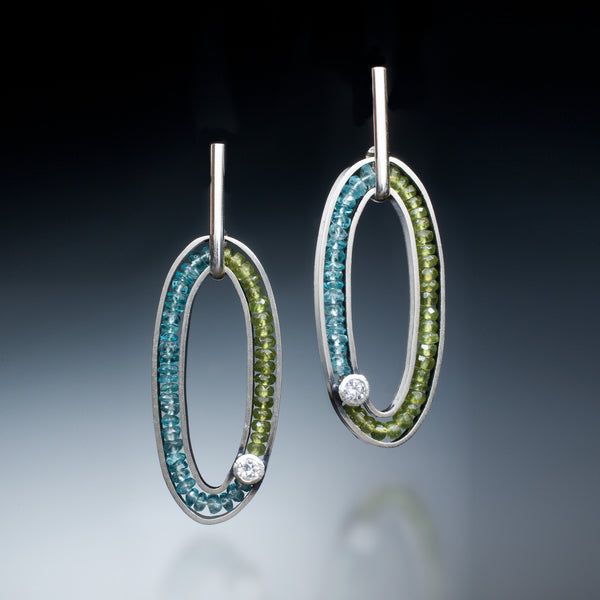 Gemstone Oval Earrings (blue) - Kinzig Design Studios