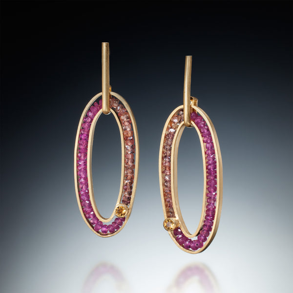 Gemstone Oval Earrings (gold) - Kinzig Design Studios