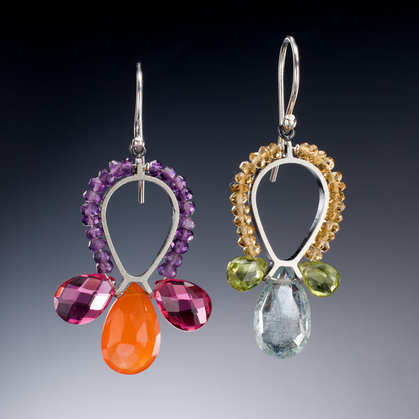 Gemstone Reverse Teardrop Earrings - Kinzig Design Studios