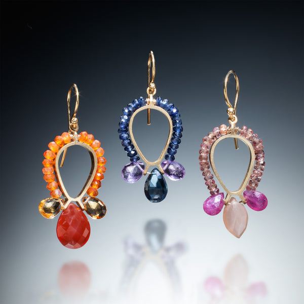 Gemstone Reverse Teardrop Earrings (gold) - Kinzig Design Studios