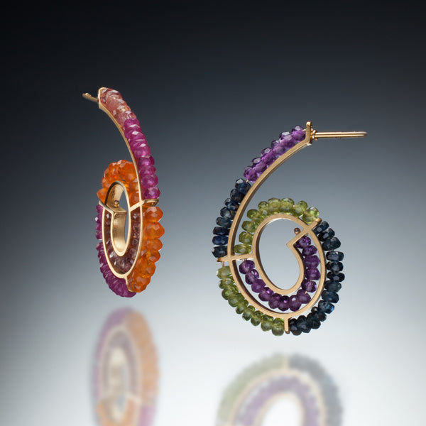 Gemstone Spiral Earrings (gold) - Kinzig Design Studios