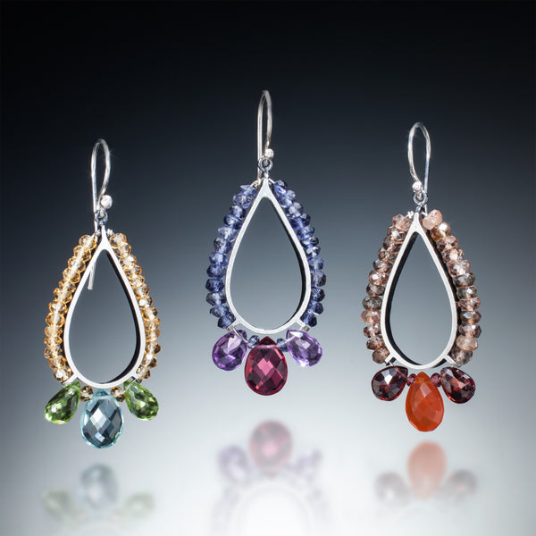 Gemstone Teardrop Earrings - Kinzig Design Studios