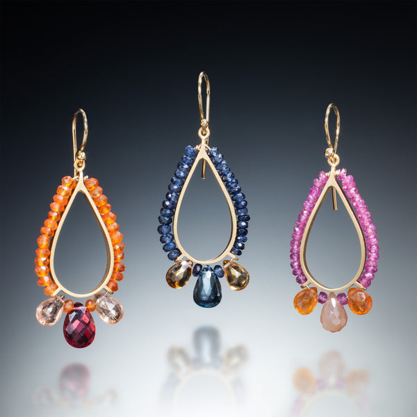 Gemstone Teardrop Earrings (gold) - Kinzig Design Studios