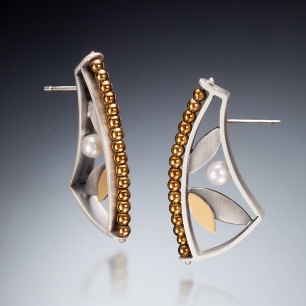 Mixed Metal Cuff Earrings - Kinzig Design Studios