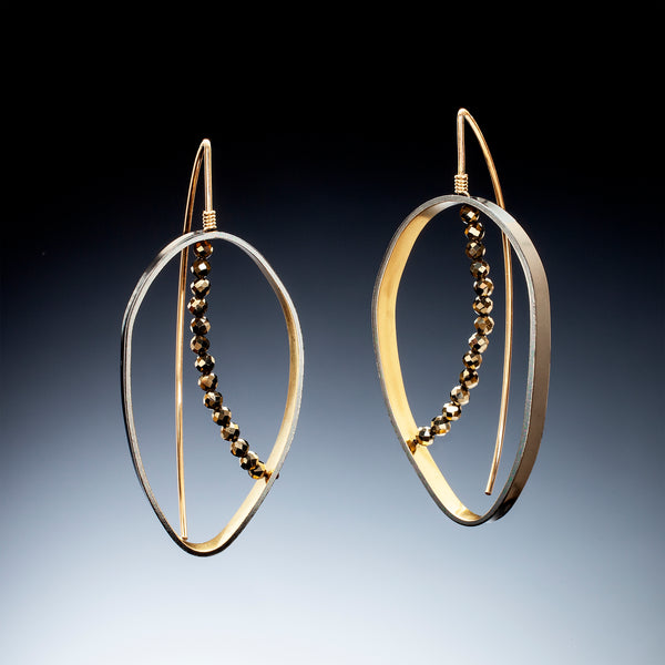 Gold Inside Vertical Oval Earrings (large) - Kinzig Design Studios