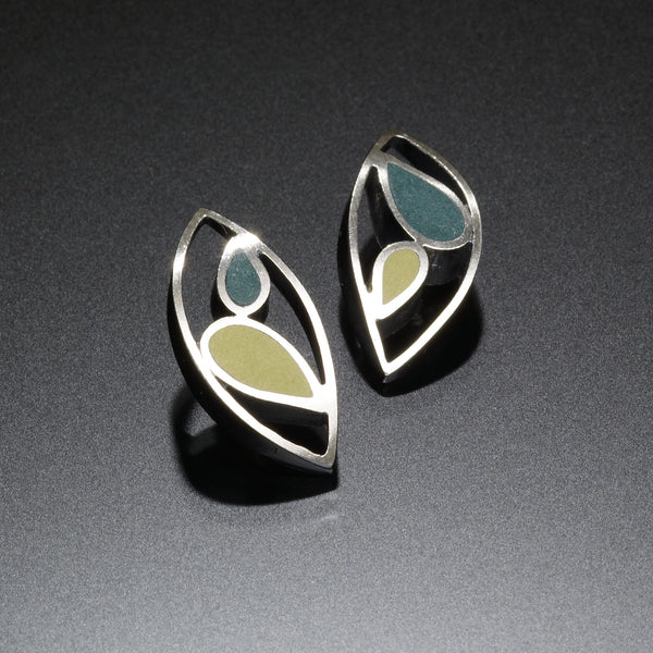 Marquis Stud Earrings (blue) - Kinzig Design Studios