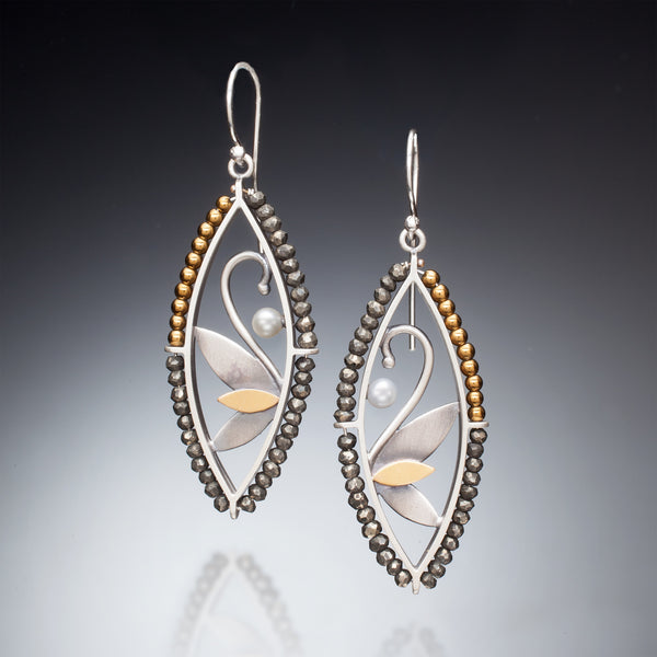 Mixed Metal Marquis Earrings - Kinzig Design Studios