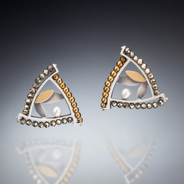 Mixed Metal Triangle Earrings - Kinzig Design Studios