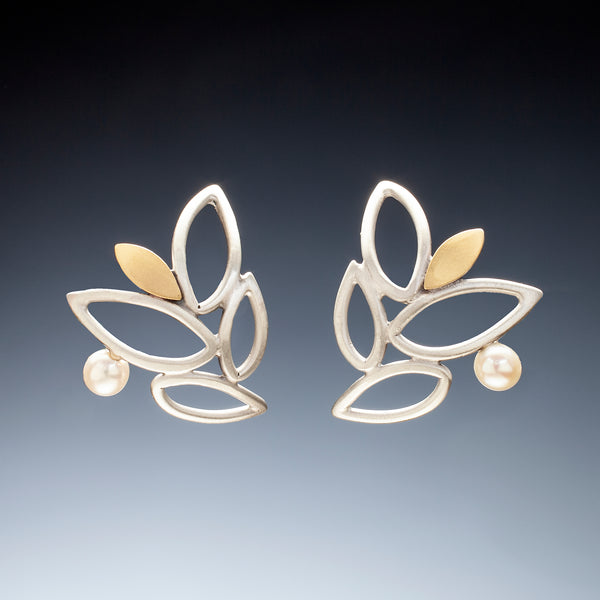 Mixed Metal Lace Leaf Earrings - Kinzig Design Studios
