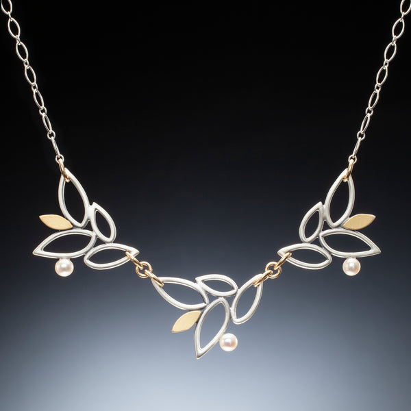 Mixed Metal Lace Leaf Necklace - Kinzig Design Studios