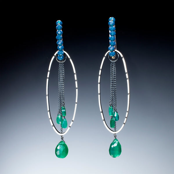 Oval Silver and Stone Earrings - Kinzig Design Studios