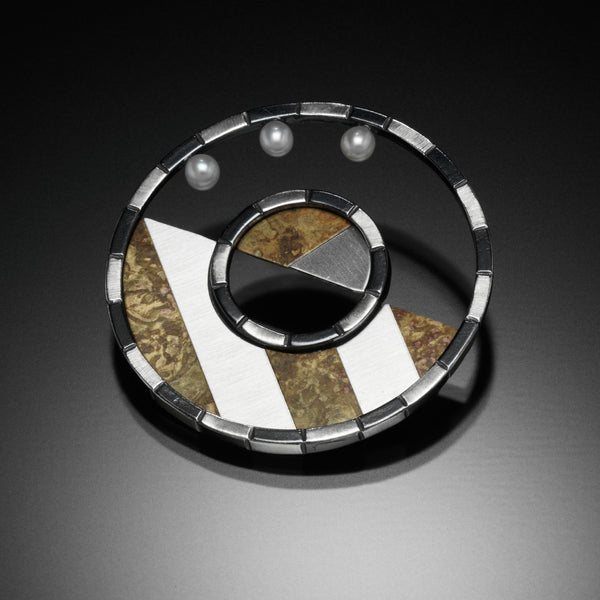 Stripped Circle Brooch - Kinzig Design Studios