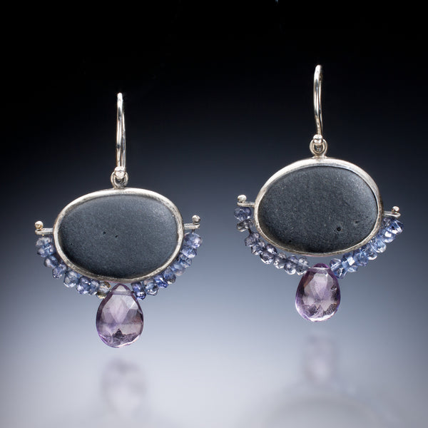 Amethyst Rock Earrings - Kinzig Design Studios