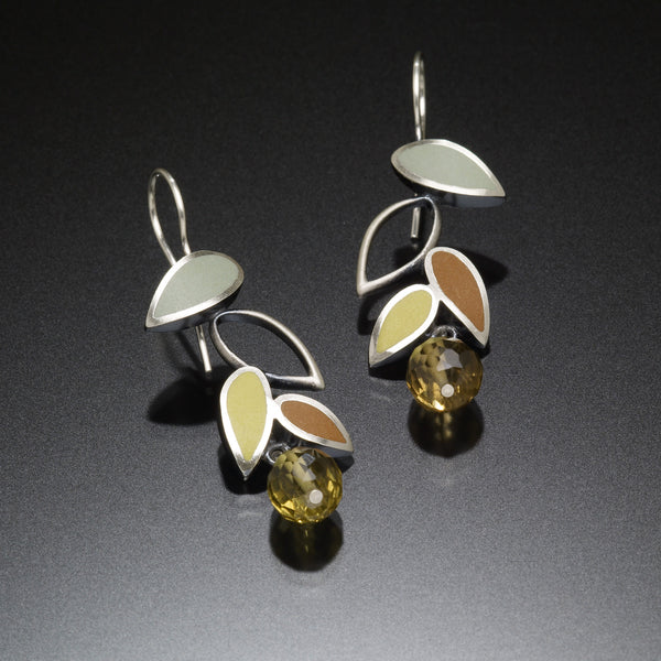 Falling Leaf Earrings (blue) - Kinzig Design Studios